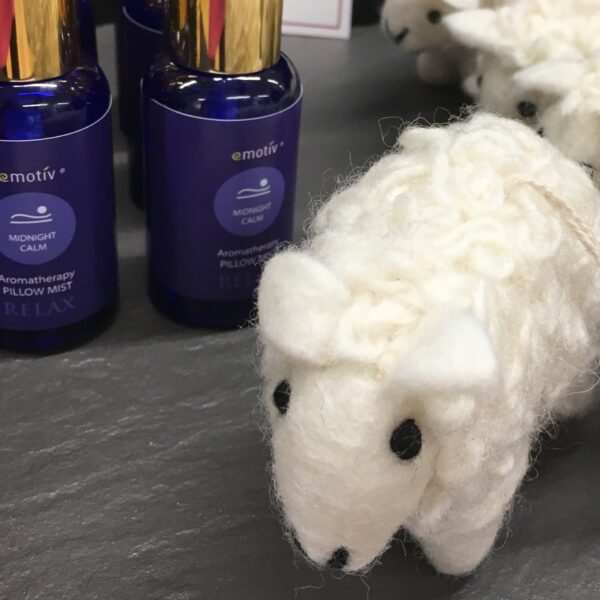 Emotiv Aromatherapy Lavender pillow spray & woolly felt cream coloured 'Sleepy Sheep'. Spray the sheep with the essential oil spray and leave by your bedside to hold the soothing aroma for hours.