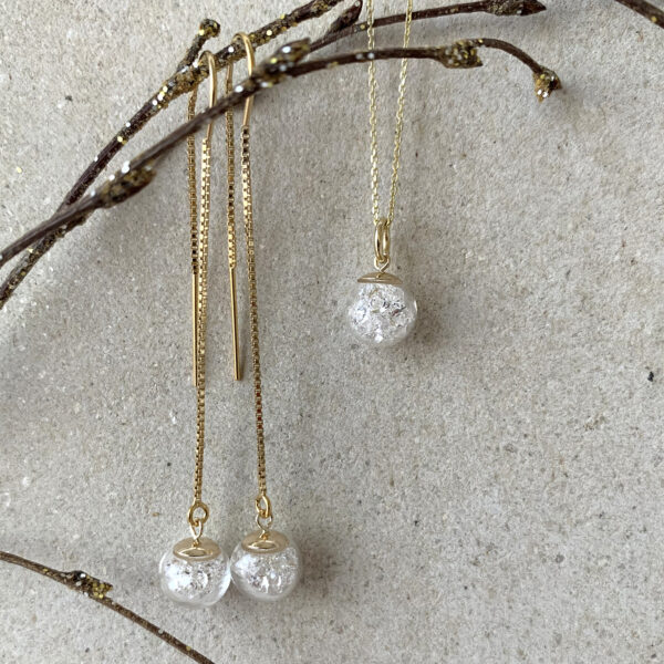 Lizzy Chambers 9ct Gold Necklace and Pull Through Drop Earrings with Crystals