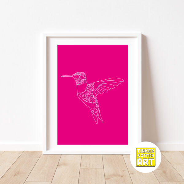 Hummingbird Art Print - Pink and white