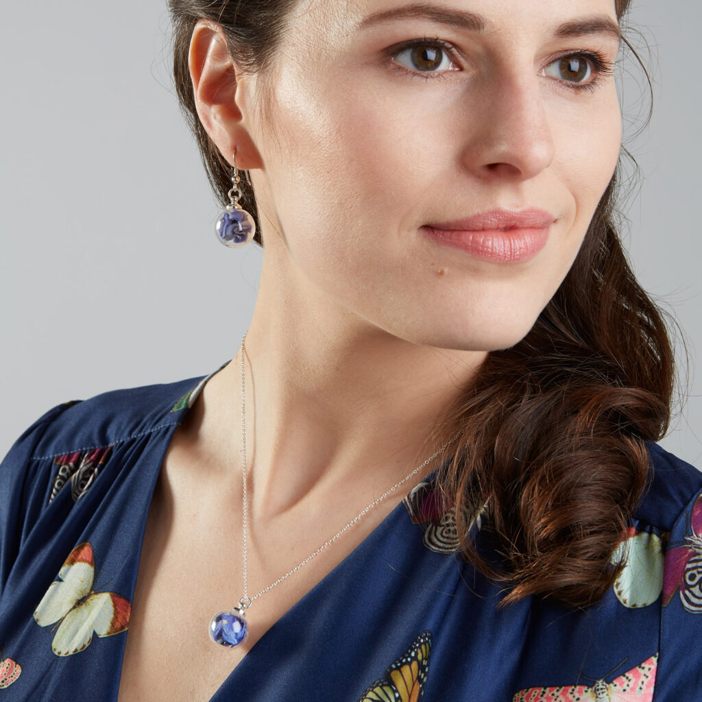 Lizzy Chambers Mini Glass Necklace and Earrings set with baby blue flower petals