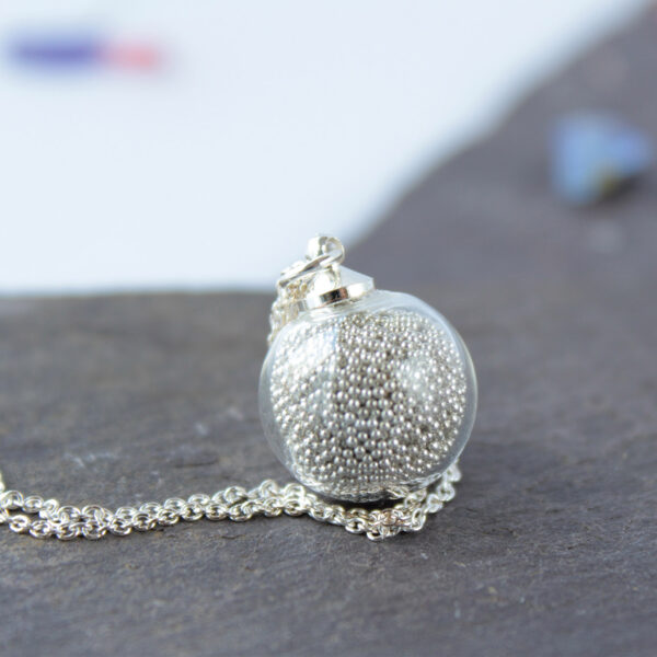 Lizzy Chambers Silver Bead Movement Glass Necklace