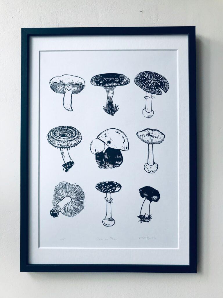 The Pepper Press Mushrooms -Original Handmade Linocut Print Nature art fungi linoprint