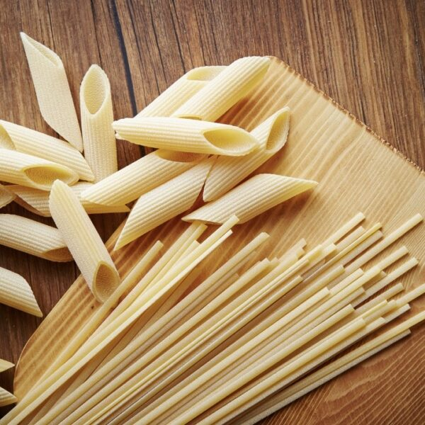 That Refill Place, Pasta Refill, spaghetti and pennette pasta on chopping board