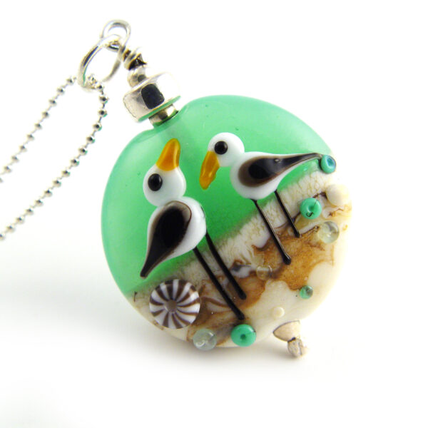 Suzanne Jewellery, Sea Green & Cream Seagull Pendant