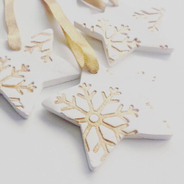 Handmade Clay Christmas Star decorations with Gold Snowflake Design