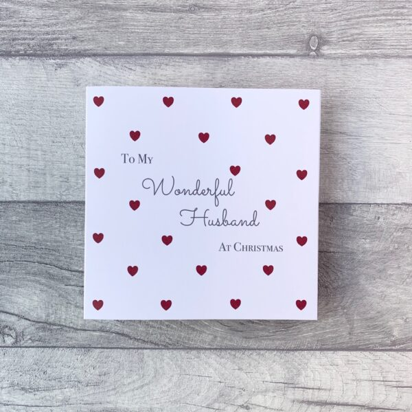 The Pretty Card Company, To My Wonderful Husband At Christmas, Red Love Hearts, Blank inside for your own personal message.
