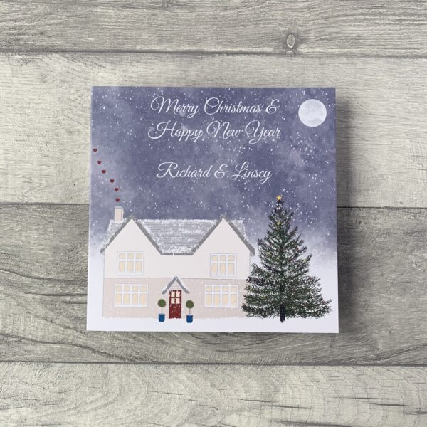 The Pretty Card Company, Personalised Christmas Card illustrated by a cosy house on a winters night. Blank inside for your own personal message.