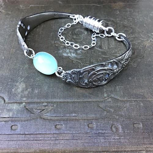 Chris's forkemporium Norwegian teaspoon bracelet with blue chalcedony