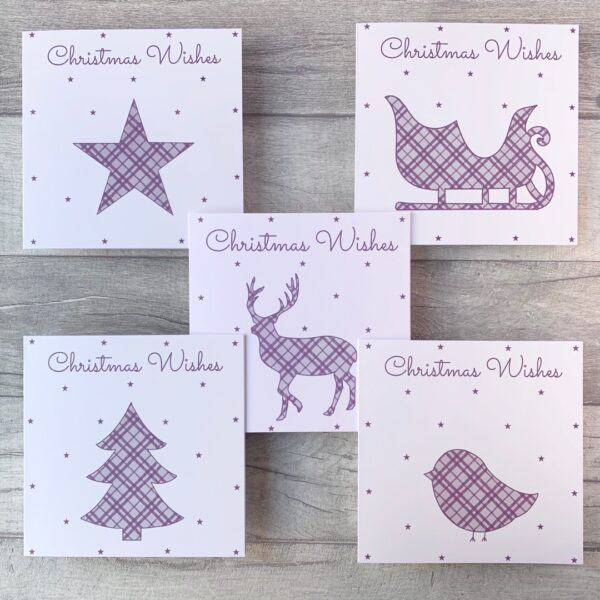 The Pretty Card Company, Tartan Christmas Card Pack of 5 handmade designs to send to loved ones or friends. Blank inside for your own personal message. Available in 5 colour packs.