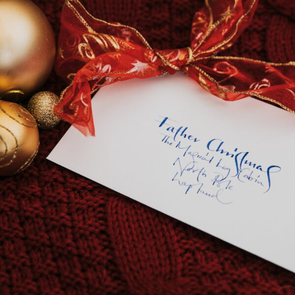 Handwritten envelopes included with Letter Kit and example of one given with letter from Father Christmas