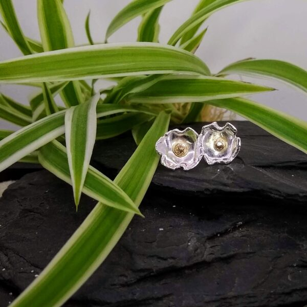 Inari Designs - 9ct Gold & Silver Cherry Blossom Earrings