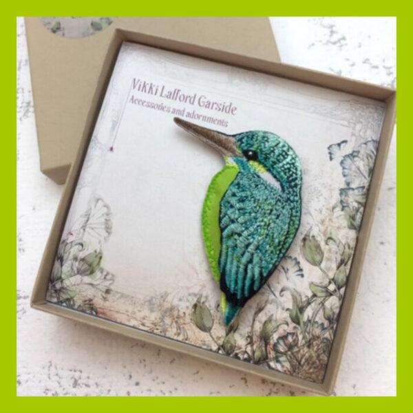 Handmade Kingfisher Brooch