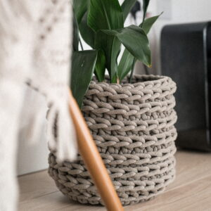 Knttd large crochet plant pot in taupe grey made from sustainable recycled cotton