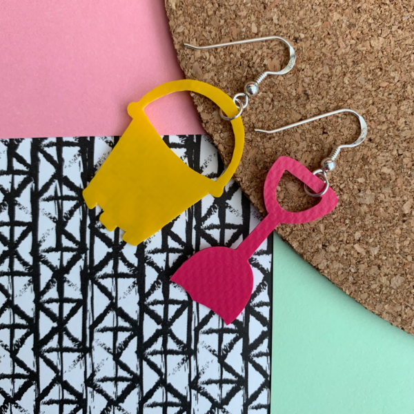 Bucket and Spade shaped earrings