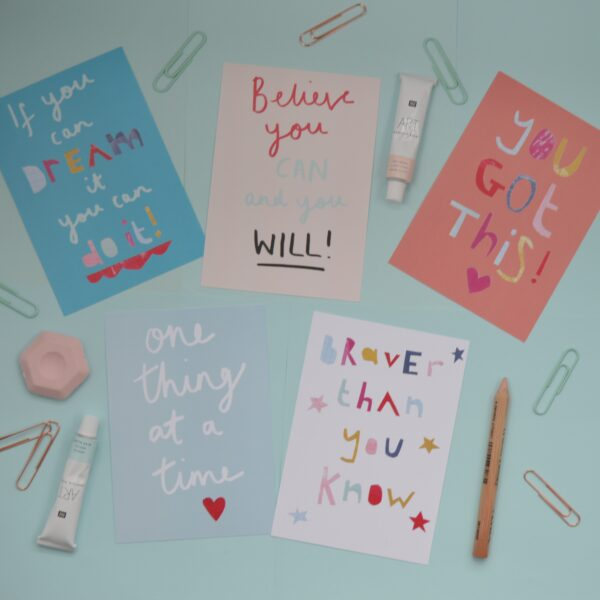 Dolly Pepper Studio, Positive postcard pack of 5, mental wellbeing, positive affirmations