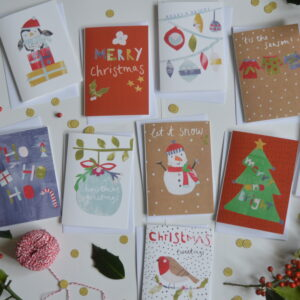 Dolly Pepper Studio, Christmas greeting card pack of 10, Snowman, Penguin, Merry Christmas, Christmas Tree, Ho Ho Ho, Baubles, Robin