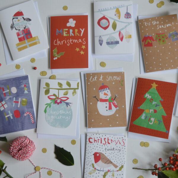 Dolly Pepper Studio, Christmas greeting card pack of 10, Snowman, Penguin, Merry Christmas, Christmas Tree, Ho Ho Ho, Baubles, Robin