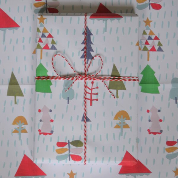 Dolly Pepper Studio, Christmas Wrapping Paper, a2 sized, Multi tree design