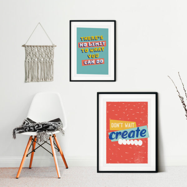 Design and Tea, inspiring quote prints in a modern scandi room. Don't wait create print in red and There's no limit to what you can do print with yellow text and mint background
