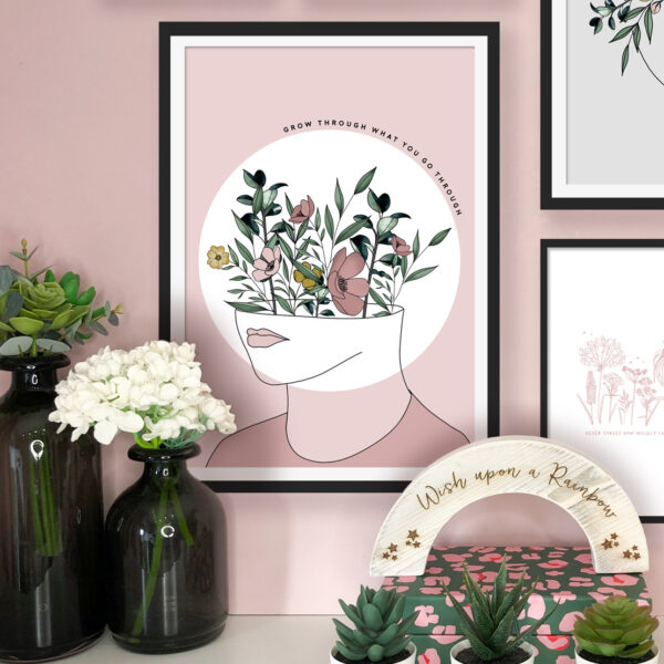 PaperJack Illustrates, Grow Through What you Go Through Print, Pink wall art print, Positive Quote Print, Floral Wall Art