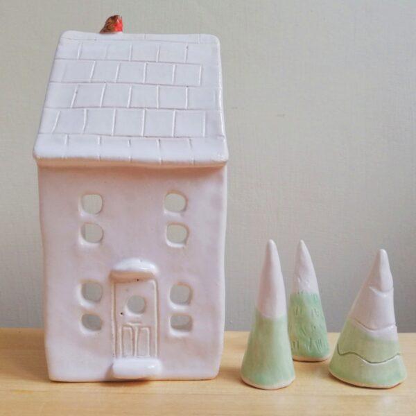 lucyandjaneceramics, white tealight house with robin bird and ceramic trees