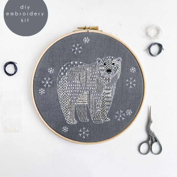 Polar Bear Winter Christmas Embroidery Kit