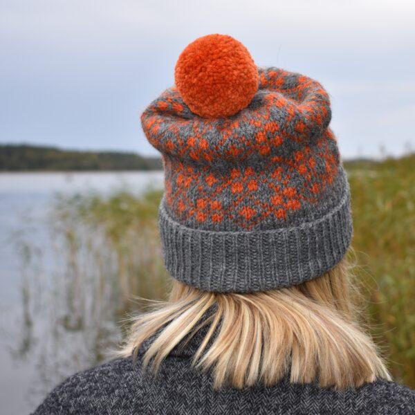 Knit 'Tings fair isle bobble chunky alpaca wool hat in dark grey and orange with orange pom pom