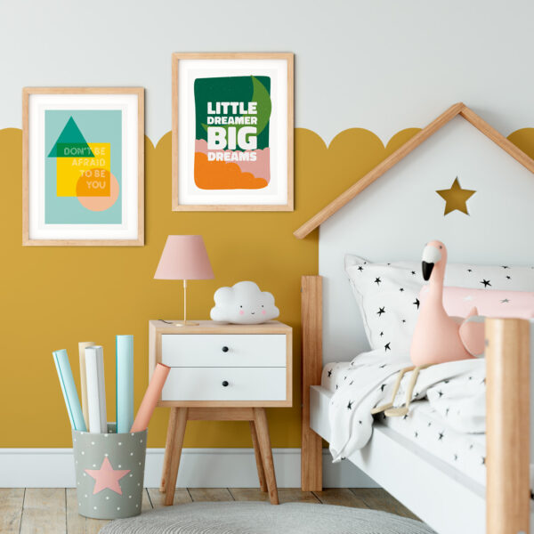 Design and Tea, colourful inspiring prints shown in a child's bedroom with scandi inspired furniture