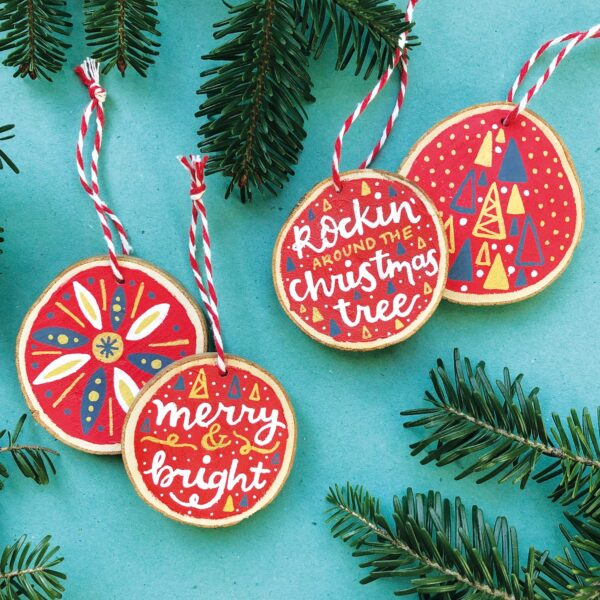 Nicola B Studio, Christmas Wooden Decorations, Hand Painted, can be personalised