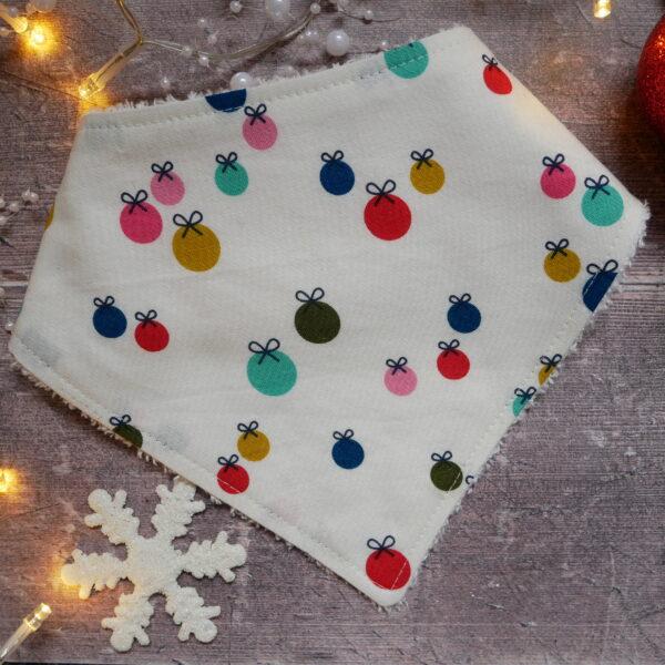 Handmade Sewing, soft bamboo christmas baubles bandana dribble baby bib