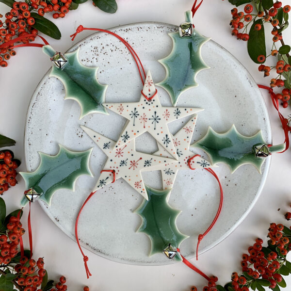 Rachel Carpenter Ceramics, Green Porcelain Holly Leaves and Decorated Porcelain Stars