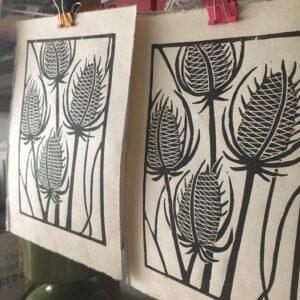 "MegaLilyDesign, Linocut Print, ""Teasels"""