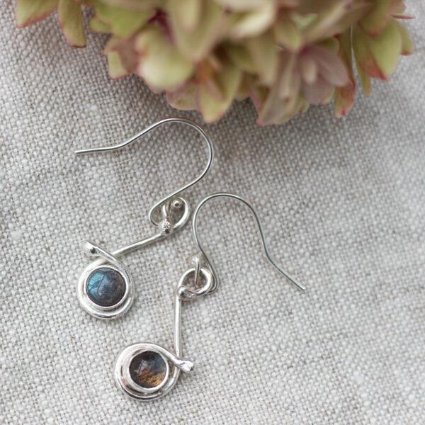 The Little Red Hen Jewellery Silver and Labradorite handmade drop earrings semi-precious earrings