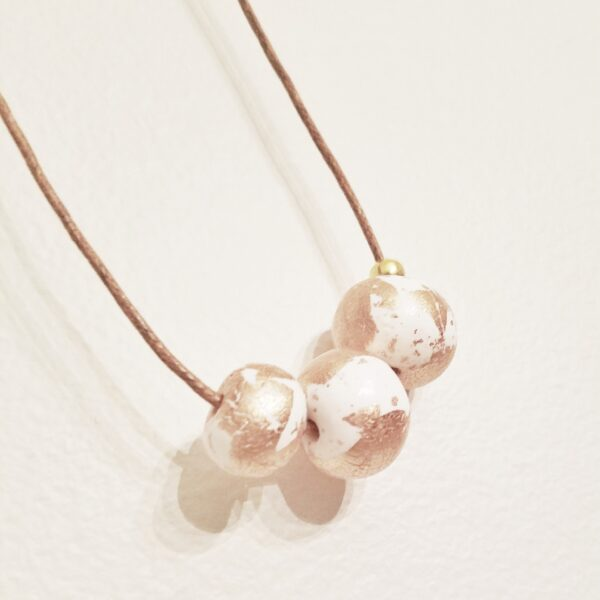 White Clay Beaded Necklace with Gold leaf accent