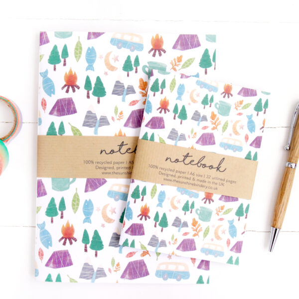 Two recycled eco friendly notebooks with camping and adventure themed patterned covers
