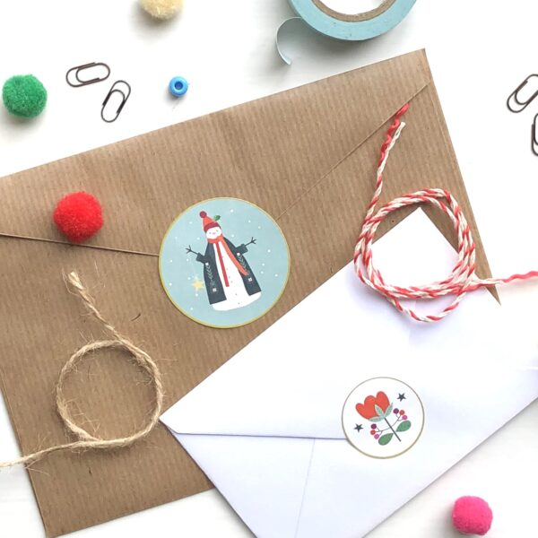 Bee Brown Illustration, Christmas stickers on eco-friendly paper decorating envelopes