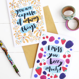 Two eco friendly recycled greeting cards together