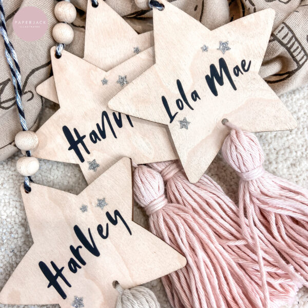 PaperJack Illustrates, Personalised Hanging Star Decoration, Wooden Christmas decorations