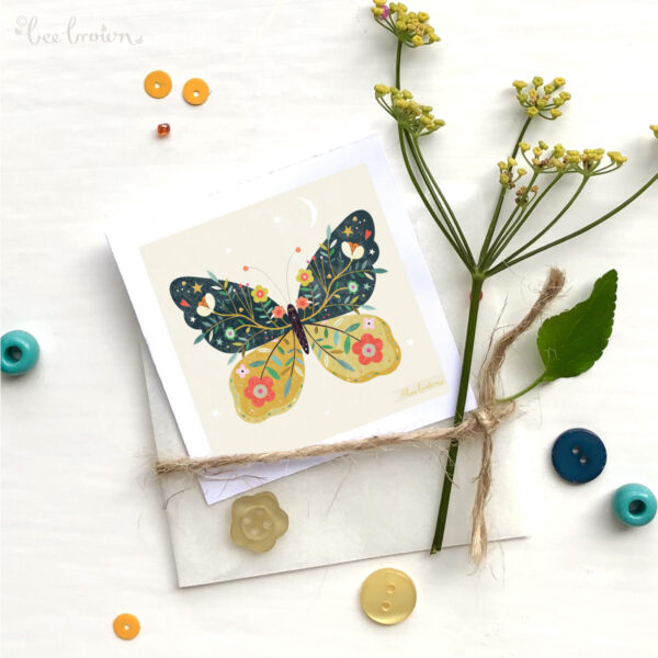 Bee Brown Illustration, decorative butterfly mini print printed onto FSC approved paper in full colour with a glassine bag and hand embellished with gold ink with flowers from my garden