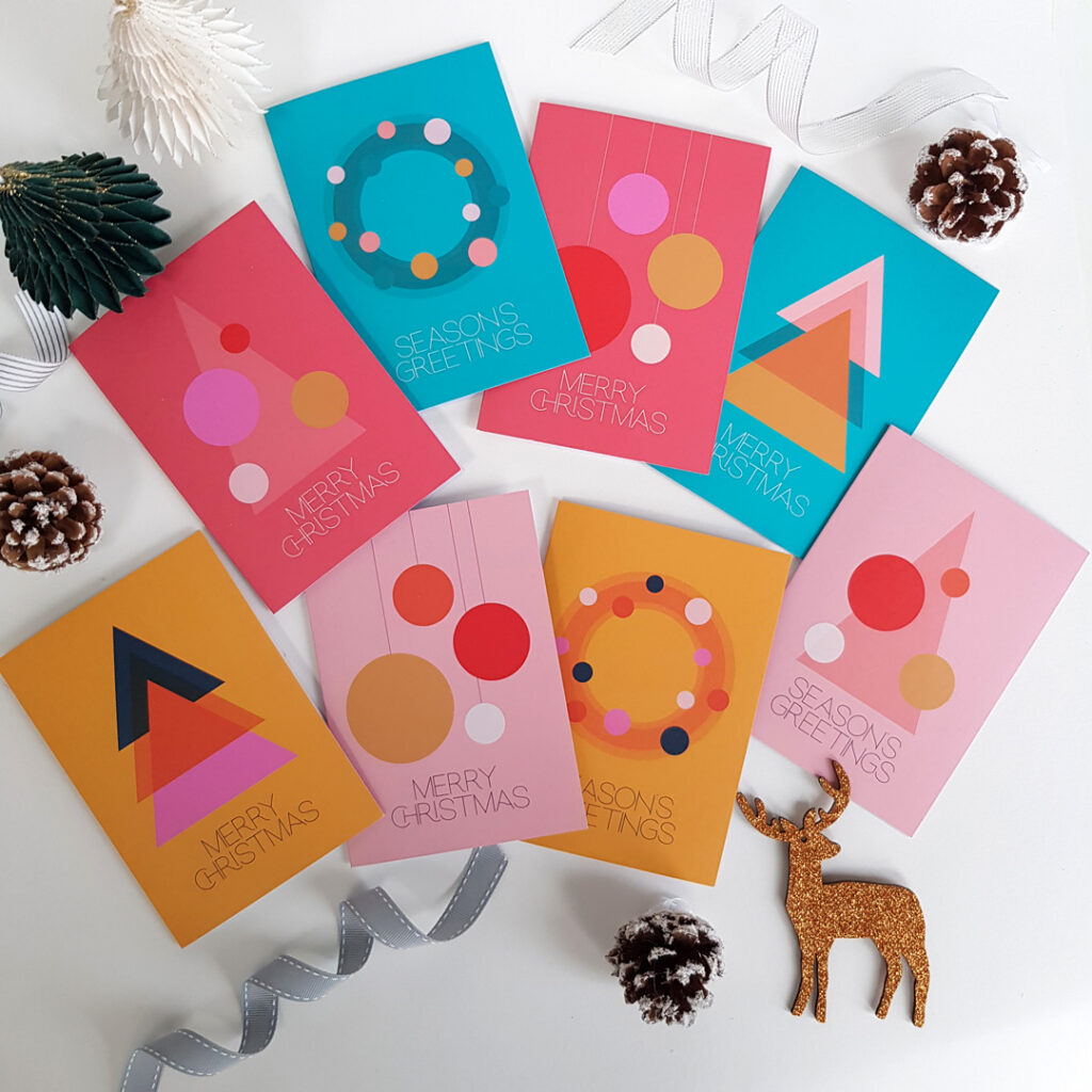 Pack of 8 Christmas cards, scandi mid-century designs, minimalist and geometrical illustrations with pink, mustard, red and teal backgrounds