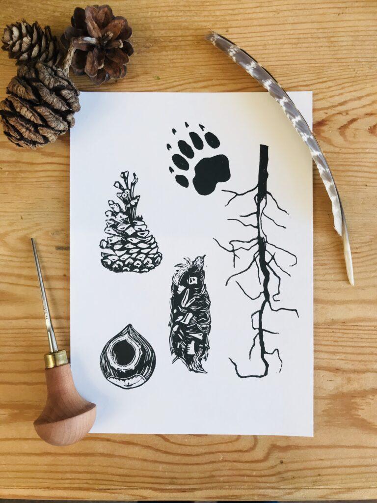 Nature Linocut wildlife animal signs tracks Linocut print