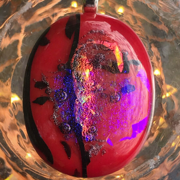 abstract red glass pendant by elfin alchemy