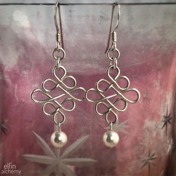 elfin alchemy sterling silver Celtic style earrings