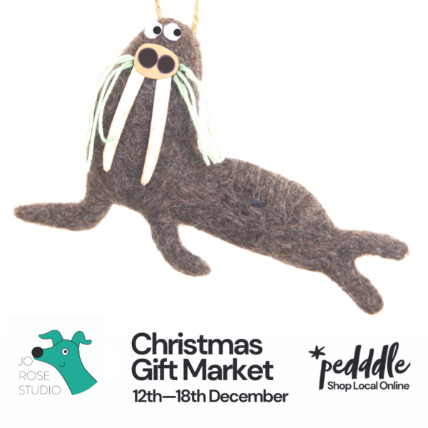 handcrafted, needle felted walrus, Christmas gift and decoration