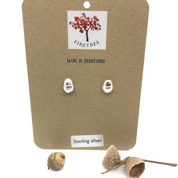 Firetree, Mini Acorn Stud Earrings Sterling Silver
