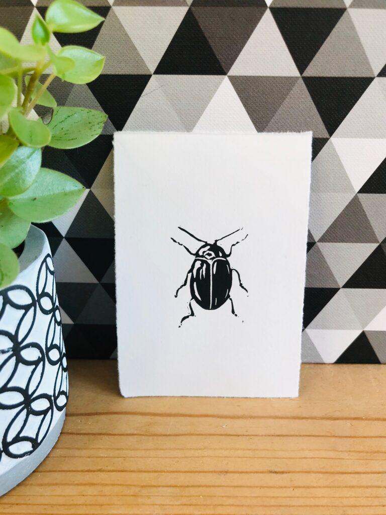 The Pepper Press Beetle Lino print- Insect Print-Bug Print