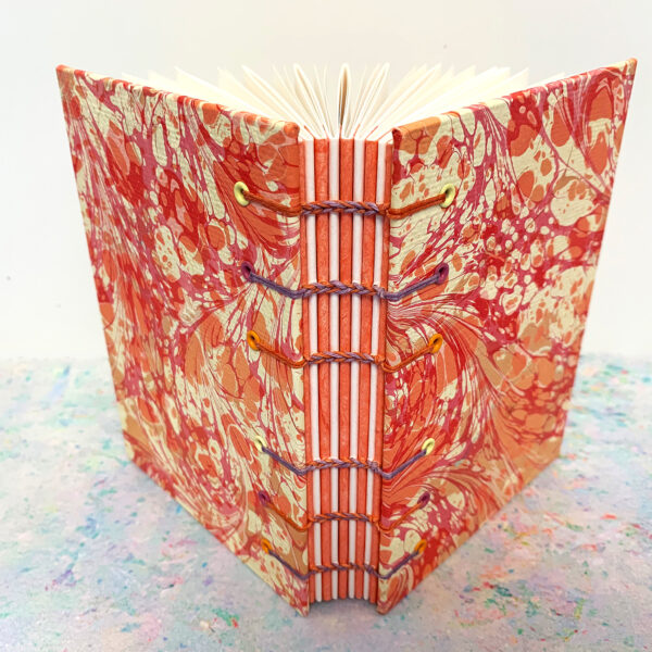 Anastacia Tohill Art, Coptic Stitched Book, Marbled Book, Marbled Paper, Journal, Sketchbook, Book Gift