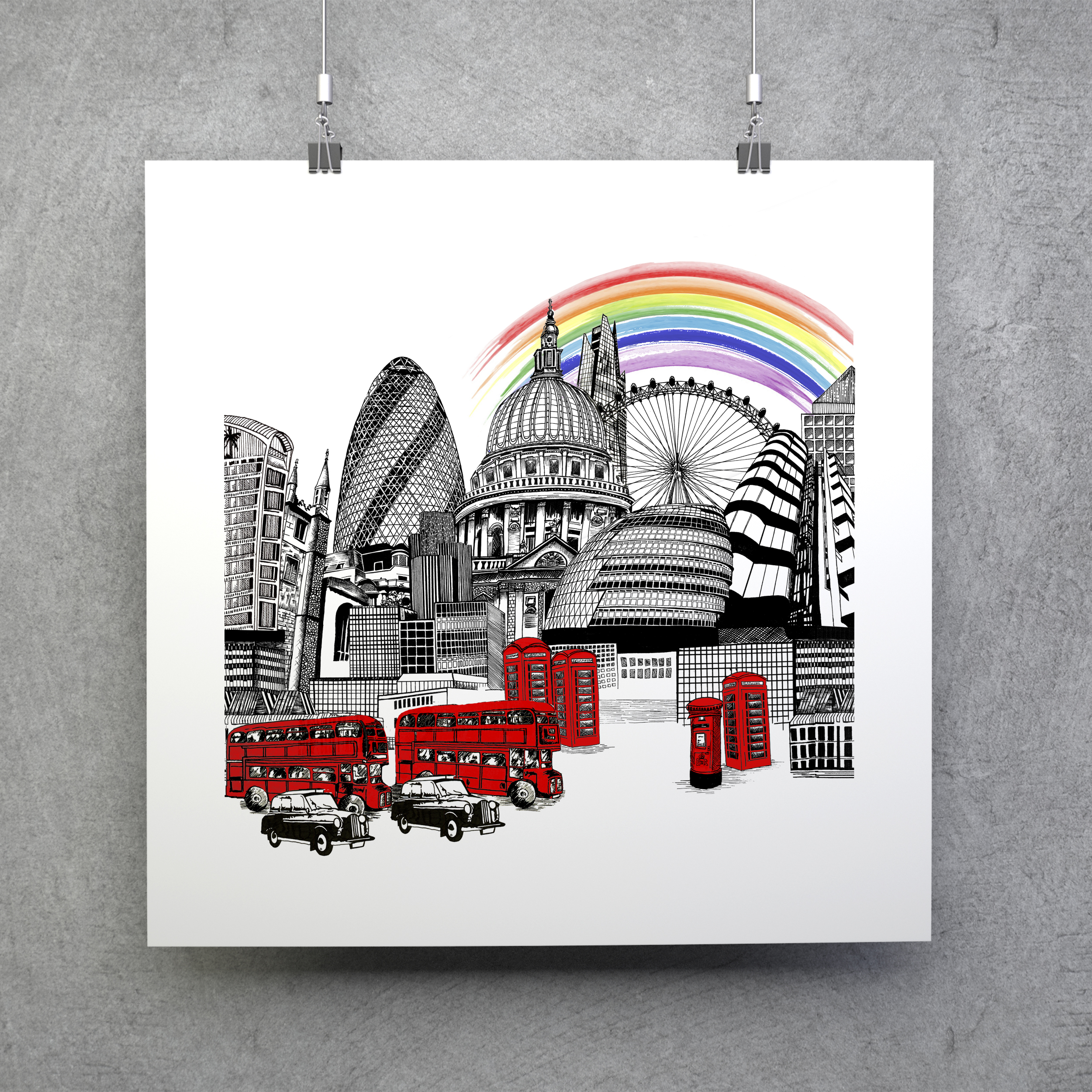 Katie Clement Illustration- London Skyline Charity Edition Giclee Art Print, hanging on a grey wall from metal clips.