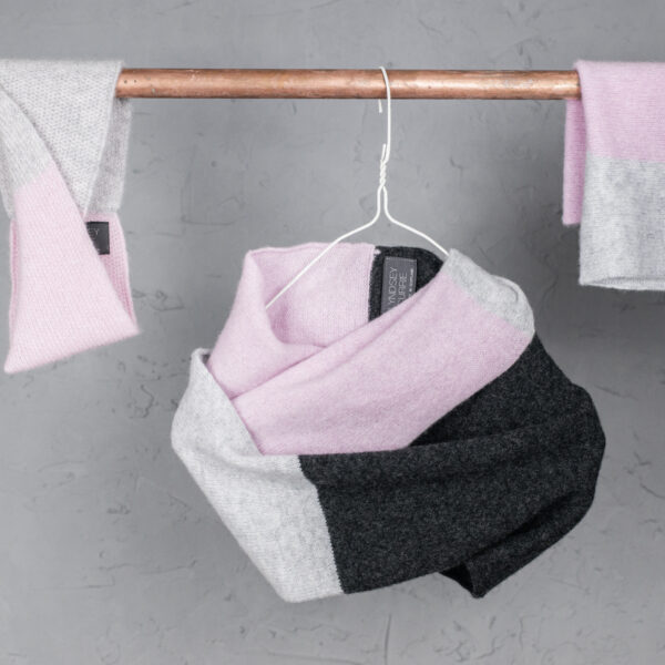 Lyndsey_Currie Knitted accessories - twisted lambswool headband, double wrap snood and single colour block snood