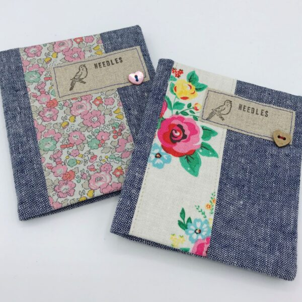 Needlecases - demin coloured cotton with floral bands, needles label and soft woolfelt insert